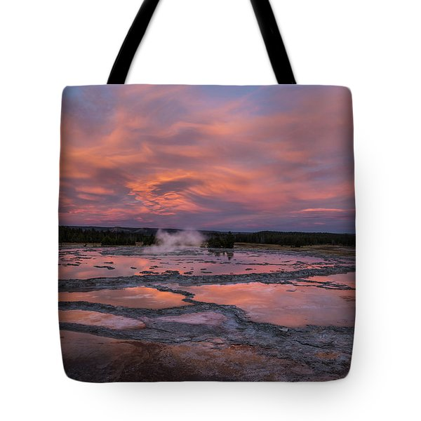 Dawn At Great Fountain Geyser Tote Bag by Roman Kurywczak