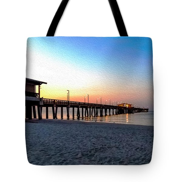 Dawn At Gulf Shores Pier Al Seascape 1283a Digital Painting Tote Bag