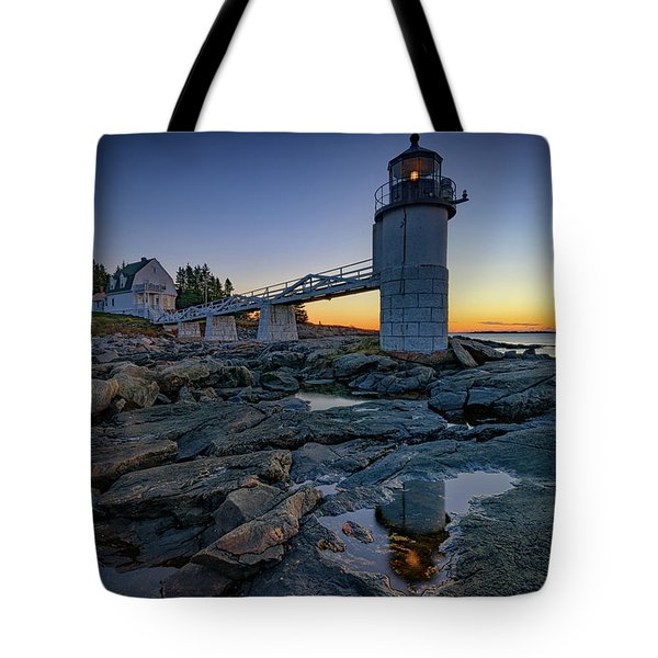 Dawn At Marshall Point Tote Bag by Rick Berk