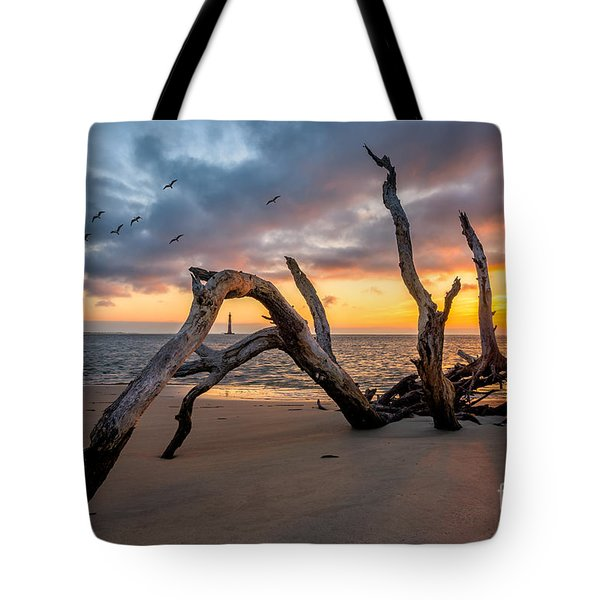 Dawn At Morris Lighthouse Tote Bag by Anthony Heflin