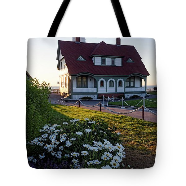 Tote Bag featuring the photograph Dawn At Portland Head Light, Cape Elizabeth, Maine  -08614 by John Bald