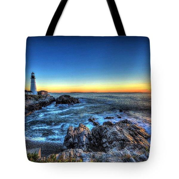 Dawn At Portland Head Lighthouse Tote Bag