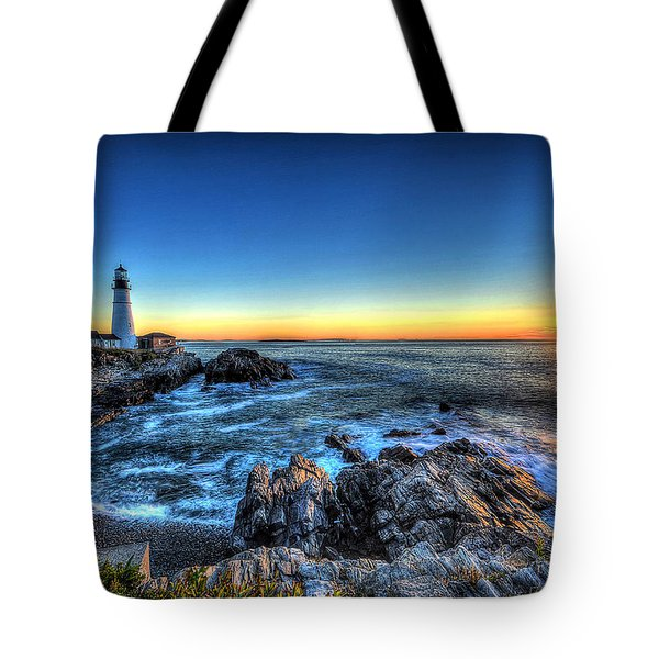Dawn At Portland Head Lighthouse Tote Bag