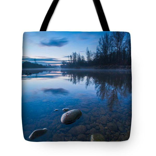 Dawn At River Tote Bag