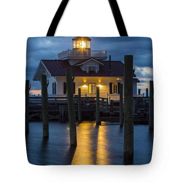 Dawn At Roanoke Marshes Lighthouse Tote Bag