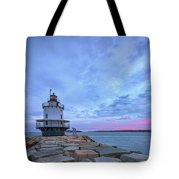 Dawn At Spring Point Ledge Lighthouse Tote Bag