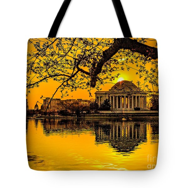 Tote Bag featuring the photograph Dawn At The Jefferson Memorial  by Nick Zelinsky
