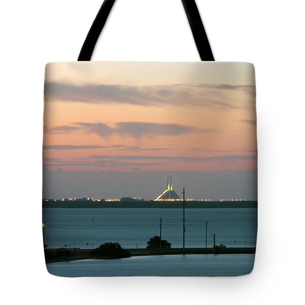 Dawn At The Sunshine Skyway Bridge Viewed From Tierra Verde Florida Tote Bag by Mal Bray