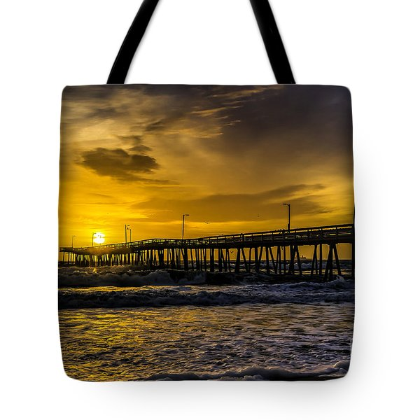 Dawn At The Virginia Pier Tote Bag
