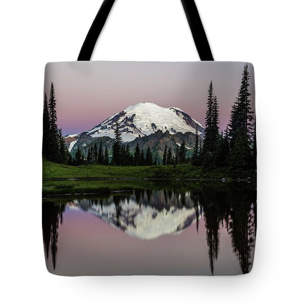 Tote Bag featuring the photograph Mount Rainier Alpenglow At Tipsoo Lake by Pierre Leclerc Photography