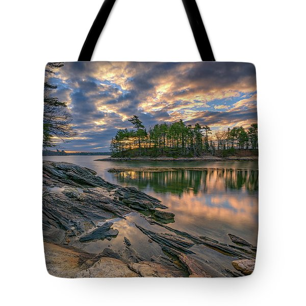 Tote Bag featuring the photograph Dawn At Wolfe's Neck Woods by Rick Berk