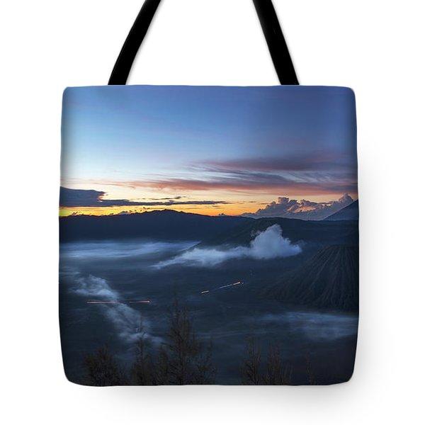 Dawn Breaking Scene Of Mt Bromo Tote Bag