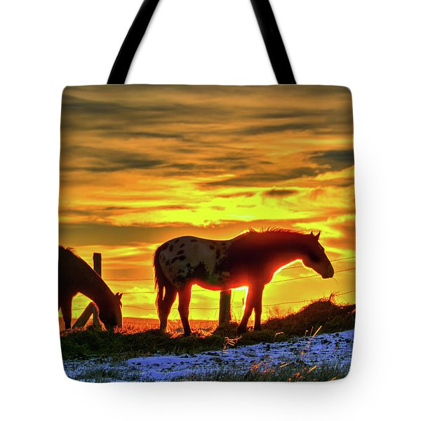 Dawn Horses Tote Bag