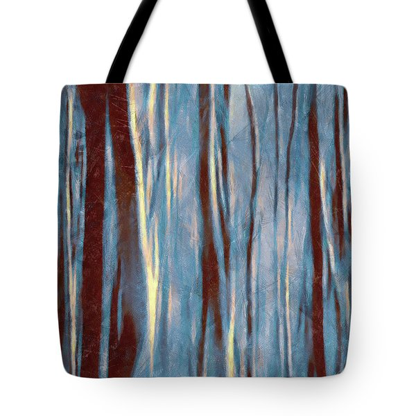 Tote Bag featuring the painting Dawn In The Winter Forest - Landscape Mood Lighting by Menega Sabidussi