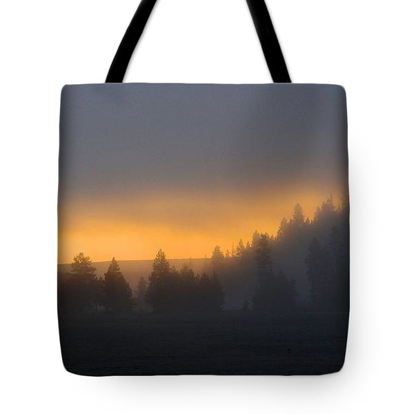 Dawn On A Misty Morning Tote Bag