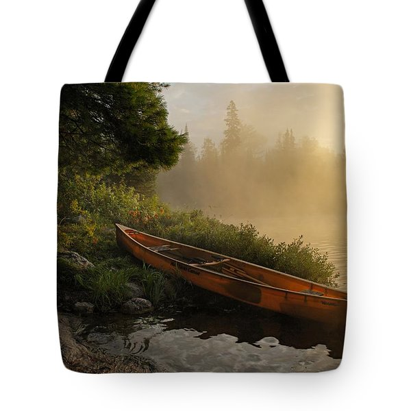 Dawn On Boot Lake Tote Bag by Larry Ricker