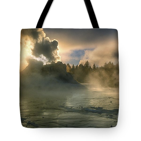 Dawn On Castle Geyser Tote Bag by Sandra Bronstein