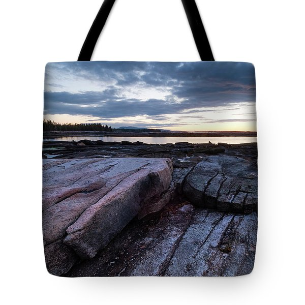 Dawn On The Shore In Southwest Harbor, Maine  #40140-40142 Tote Bag
