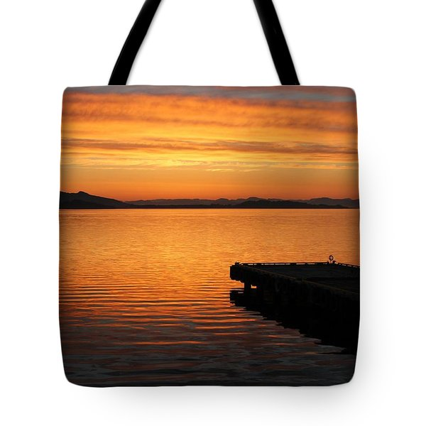 Dawn On The Water At Dusavik Tote Bag