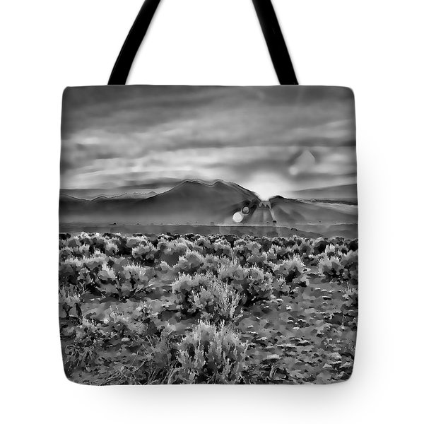 Dawn Over Magic Taos In B-w Tote Bag