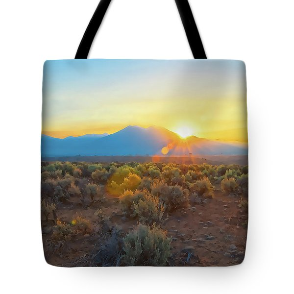 Dawn Over Magic Taos Mountain Tote Bag