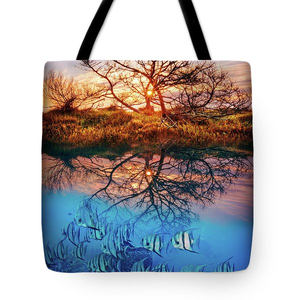 Tote Bag featuring the photograph Dawn Over The Reef by Debra and Dave Vanderlaan