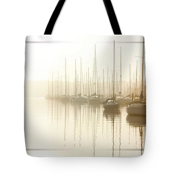 Dawn Reflections - Yachts At Anchor On The River Tote Bag