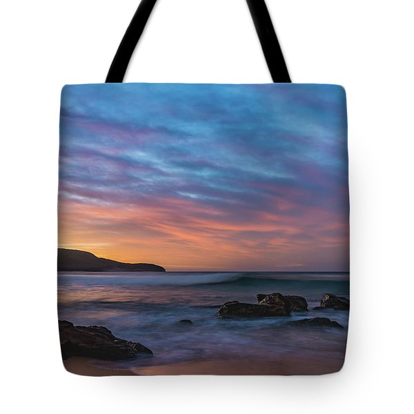 Dawn Seascape With Rocks And Clouds Tote Bag