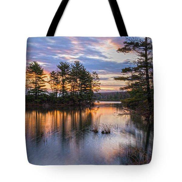Dawn Serenity At Lake Tiorati Tote Bag by Angelo Marcialis
