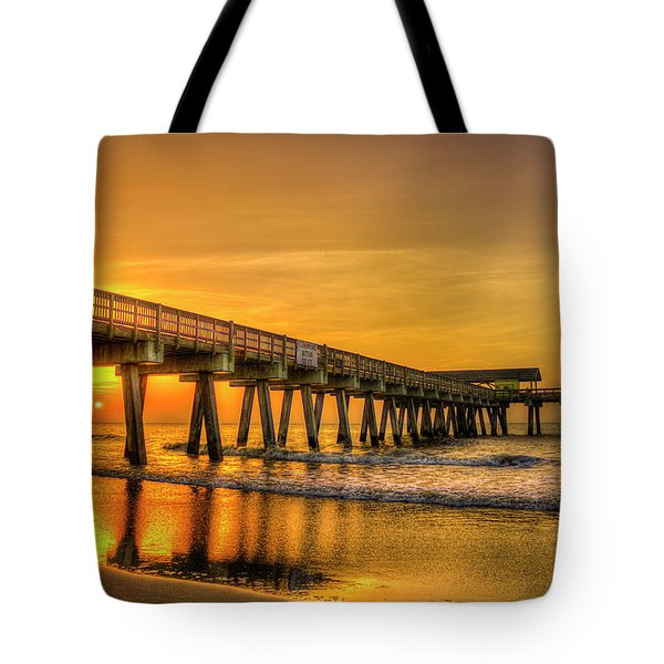 Tote Bag featuring the photograph Dawn Under Tybee Island Pier Sunrise Reflections Art by Reid Callaway