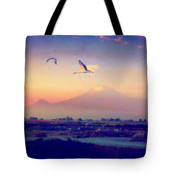 Tote Bag featuring the photograph Dawn With Storks And Ararat From Night Train To Yerevan by Anastasia Savage Ealy