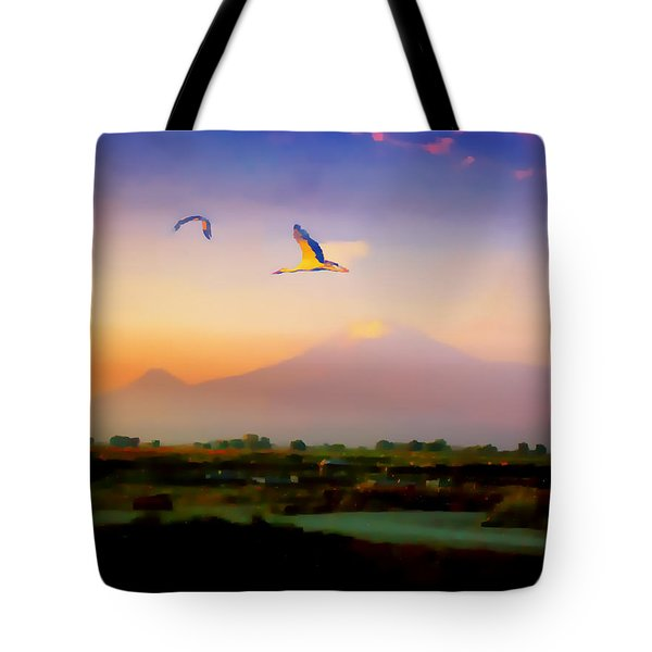 Tote Bag featuring the photograph Dawn With Storks And Ararat From Night Train To Yerevan II by Anastasia Savage Ealy