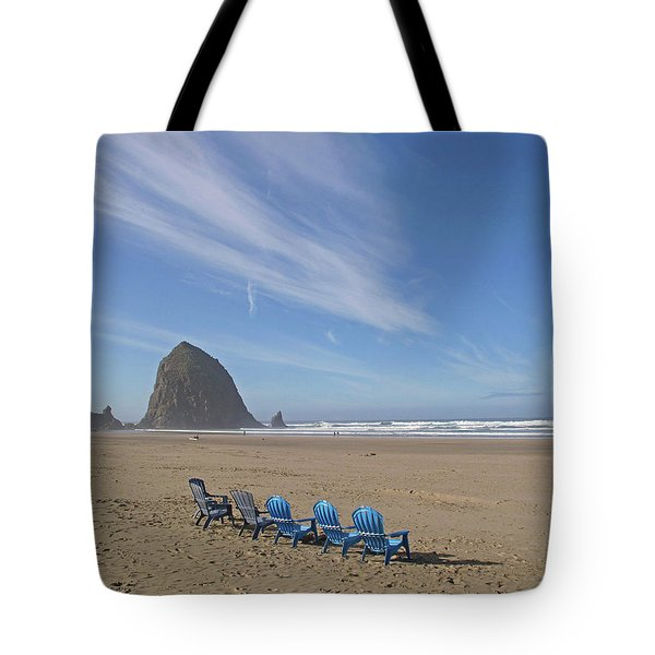 Tote Bag featuring the photograph Day At Haystack Rock by Suzy Piatt