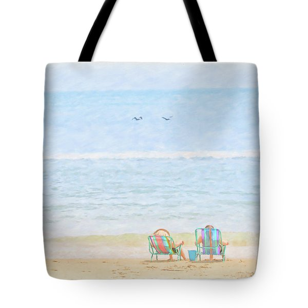 Tote Bag featuring the digital art Day At The Beach Sun And Sand by Randy Steele