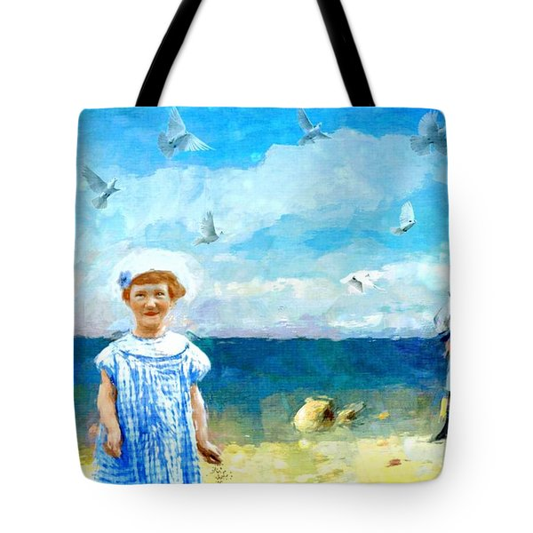 Tote Bag featuring the digital art Day At The Shore by Alexis Rotella