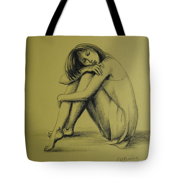 Tote Bag featuring the drawing Day Dreaming by Elena Oleniuc