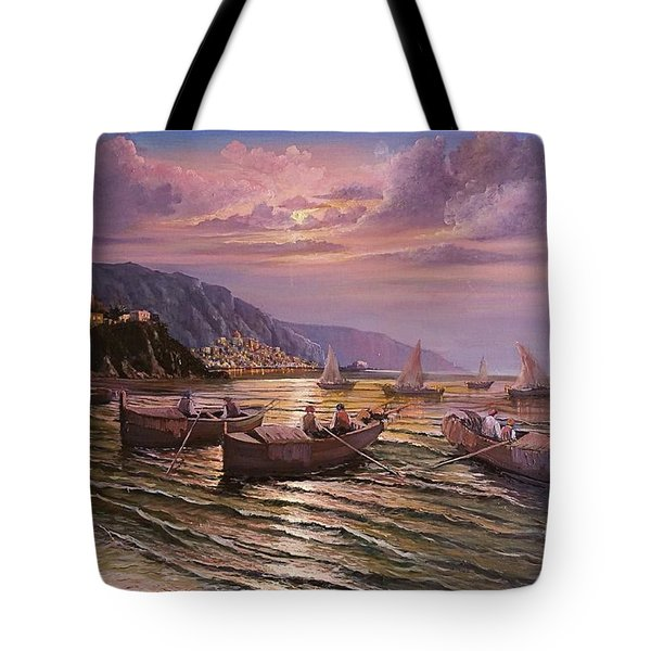 Tote Bag featuring the painting Day Ends On The Amalfi Coast by Rosario Piazza