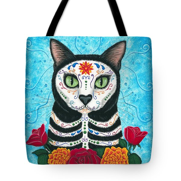 Day Of The Dead Cat - Sugar Skull Cat Tote Bag by Carrie Hawks