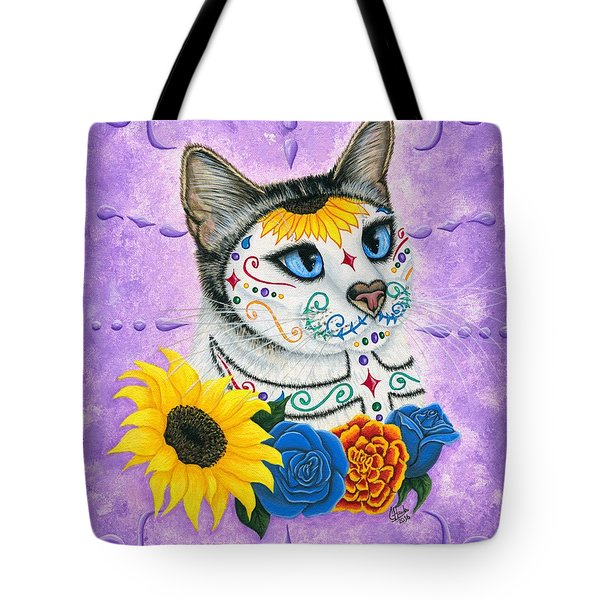Day Of The Dead Cat Sunflowers - Sugar Skull Cat Tote Bag