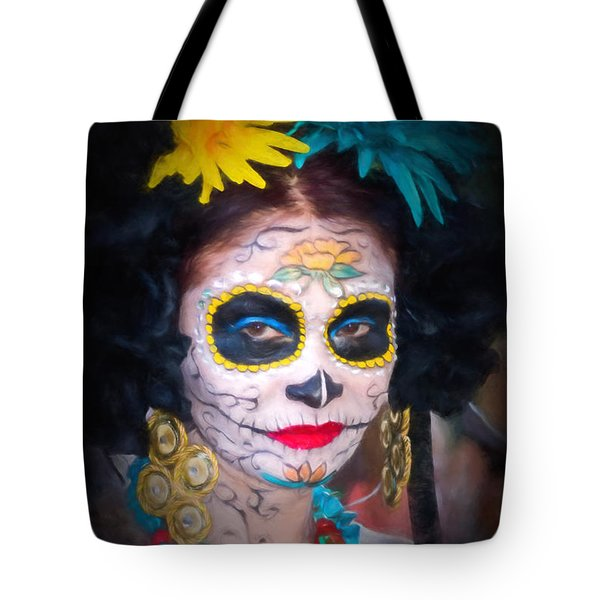 Day Of The Dead Flower Lady Tote Bag
