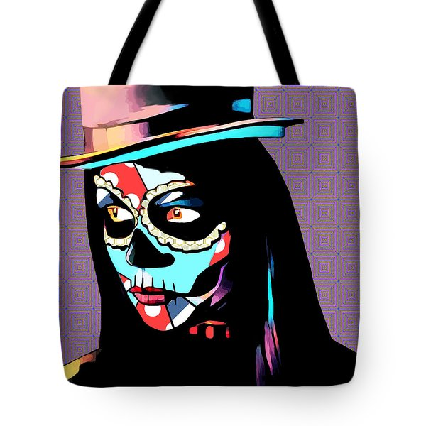 Day Of The Dead Skull Woman Wearing Top Hat Tote Bag