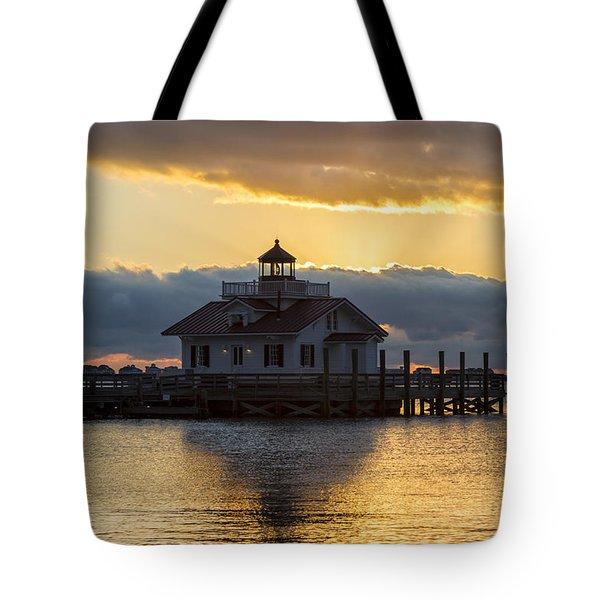 Daybreak Over Roanoke Marshes Lighthouse Tote Bag