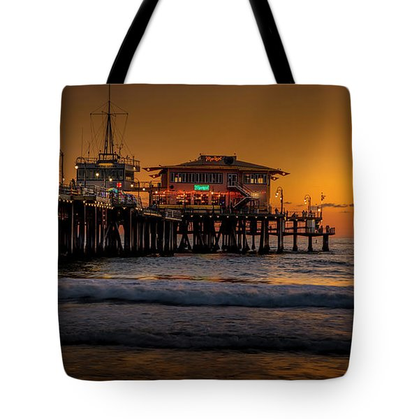 Daylight Turns Golden On The Pier Tote Bag