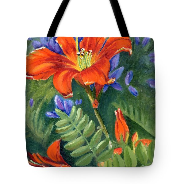 Tote Bag featuring the painting Daylilies by Renate Nadi Wesley
