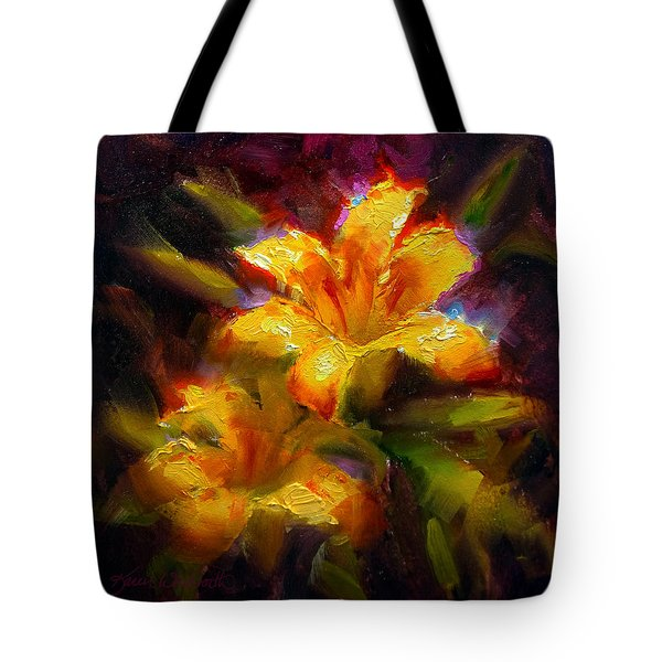 Tote Bag featuring the painting Daylily Sunshine - Colorful Tiger Lily/orange Day-lily Floral Still Life  by Karen Whitworth