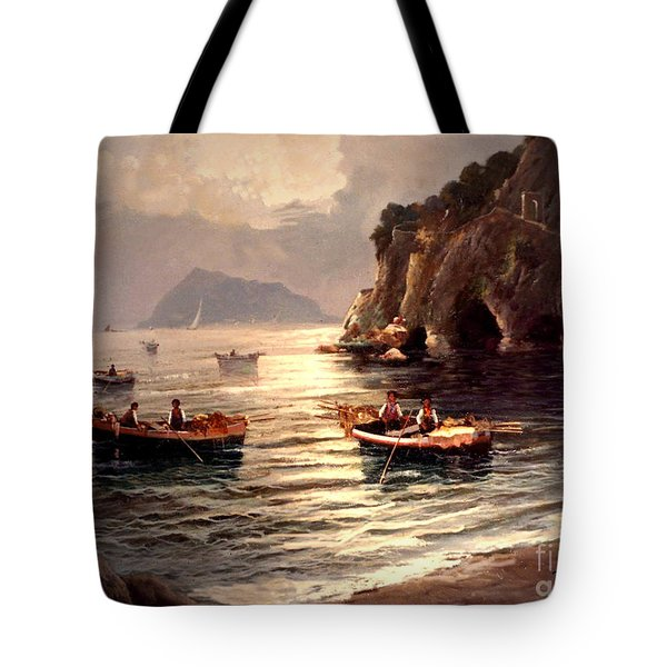 Day's End And Work Begins In The Gulf Of Naples Tote Bag