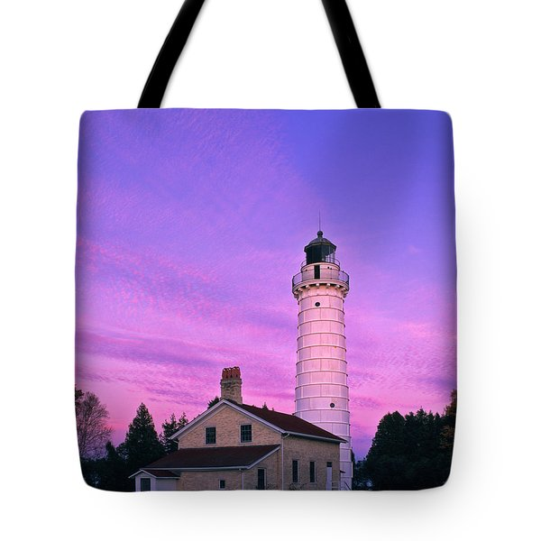 Days End At Cana Island Lighthouse - Fm000003 Tote Bag