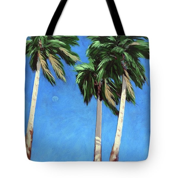 Tote Bag featuring the painting Daytime Moon In Palm Springs by Linda Apple
