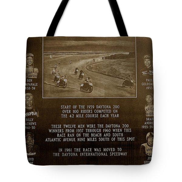 Daytona 200 Plaque Tote Bag by David Lee Thompson