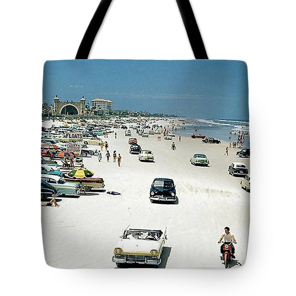 Daytona Beach Florida - 1957 Tote Bag by Merton Allen